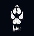 a trace from a wolf white silhouette of foot vector image vector image
