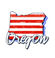 american flag in oregon state map grunge style vector image vector image