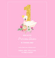 baby birthday invitation card with swan flowers vector image vector image