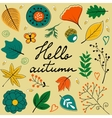 Beautiful hello autumn card with leaves flowers vector image vector image
