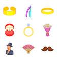 Bonds of marriage icons set cartoon style