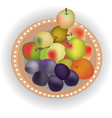 brown plate with fresh fruits eps10 vector image