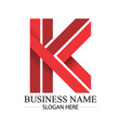 business red k letter logo template vector image vector image