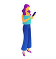businesswoman with mobile phone isometric 3d vector image