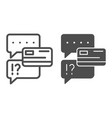 chat bubble with credit card line and glyph icon vector image