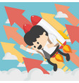 cheerful businessman flying off with jet pack vector image vector image