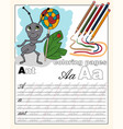 color 1 english alphabet page with animal