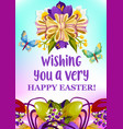 easter egg and spring flowers greeting card design vector image vector image