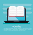electronic education with laptop vector image vector image
