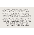 English hand drawn funky font from a to z vector image