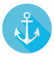 Flat Marine Anchor Circle Icon with Long Shadow vector image