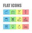 garden icons set with draw well stump pear and vector image vector image