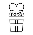 gift ribbon and heart celebration merry christmas vector image