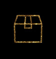 golden glitter delivery shipping box line icon vector image
