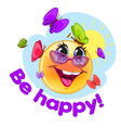 happy emoticon with blue background for messenger vector image