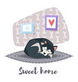 husky dog sleeping vector image vector image