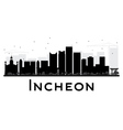 Incheon City skyline black and white silhouette vector image