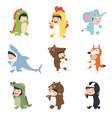 kids wearing animal costumes set vector image vector image