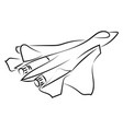 military airplane drawing on white background vector image vector image