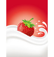 milk cream yogurt with fresh strawberry vector image vector image