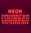 neon city color red font english alphabet sign vector image vector image