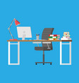 office desk with computer vector image