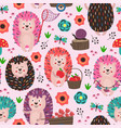 pink seamless pattern with colorful hedgehogs vector image