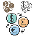pixel icon currency exchange in three variants vector image vector image