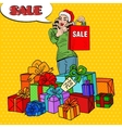 Pop Art Woman with Shopping Bag Christmas Sale