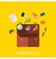portfolio with coin watch and document data vector image