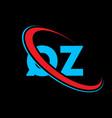 qz q z letter logo design initial letter qz vector image vector image