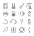 recording studio symbols icons set outline style