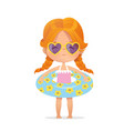 red hair girl wearing sunglasses in inflatable vector image vector image