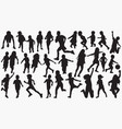 running child kids silhouettes vector image vector image