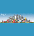 russia city skyline with gray buildings and blue vector image vector image