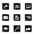 SEO promotion icons set grunge style vector image vector image