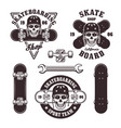 skateboarding set of emblems and elements vector image vector image