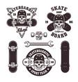 skateboarding set of emblems and elements vector image vector image