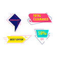 total clearance discount banners set colorful vector image