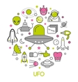 ufo and space thin line icons set with aliens vector image vector image
