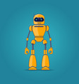 yellow robot on blue background vector image vector image