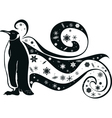 penguin and snowflakes vector image