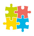4 colorful jigsaw puzzle pieces team cooperation vector image vector image