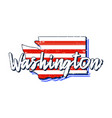 american flag in washington state map grunge vector image