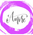 amore - hand lettering poster on pink brush stroke vector image vector image