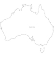 Black White Australia Outline Map vector image