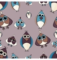 Brown and blue cute owl seamless pattern vector image vector image