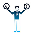 business man with coins dollar euro in hands vector image vector image