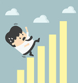 businessman falling down graphic chart vector image vector image