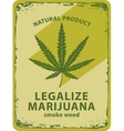 cannabis leaf and labeled legalize marijuana vector image vector image